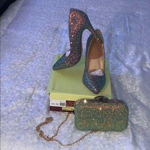 Glittery Heels with Matching Glittery Purse